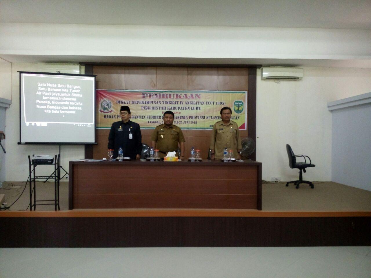 PEMBUKAAN DIKLAT PIM IV ANGKATAN 305 PEMKAB. LUWU TAHUN 2018